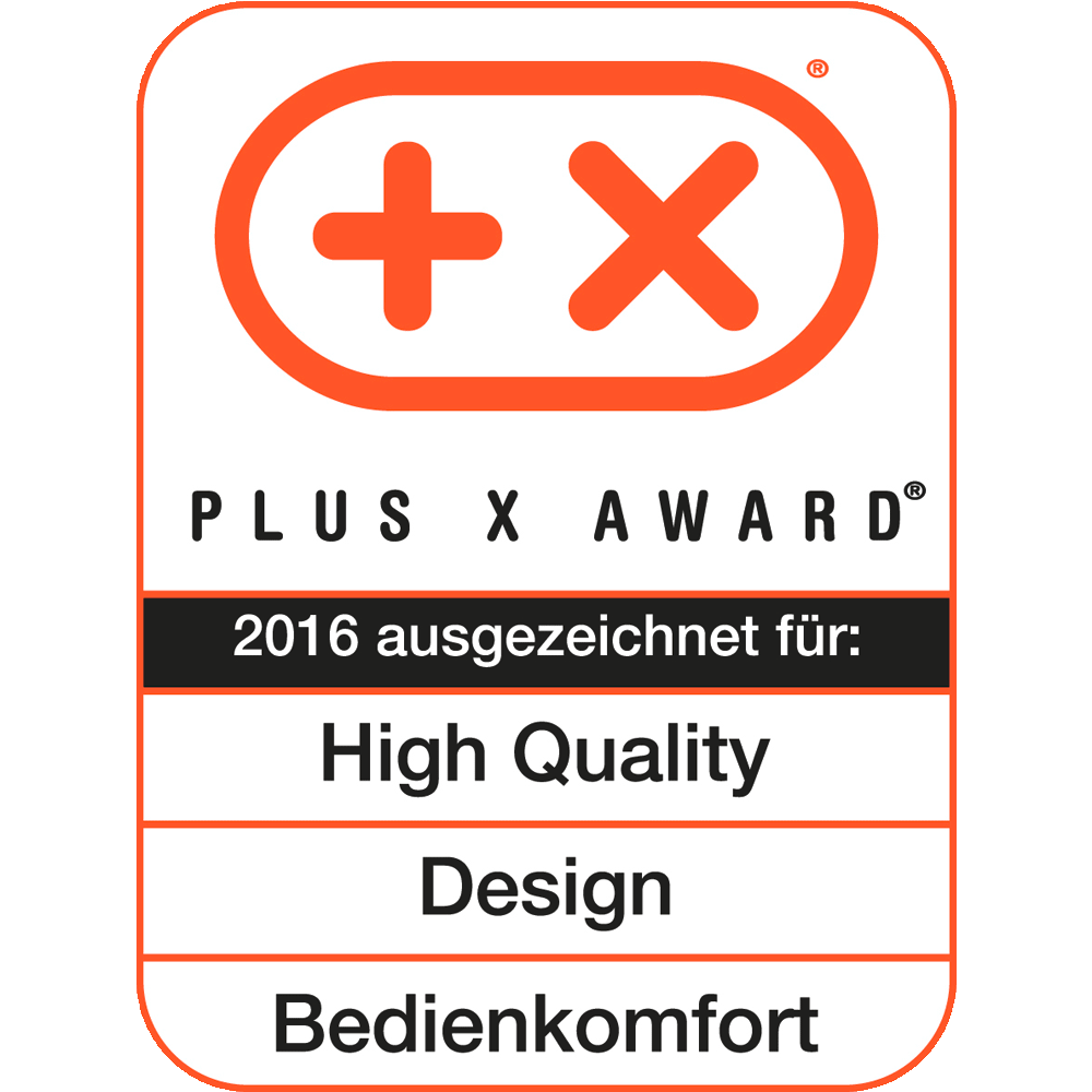 High Quality, Design, Bedienkomfort, Plus X Award 2016