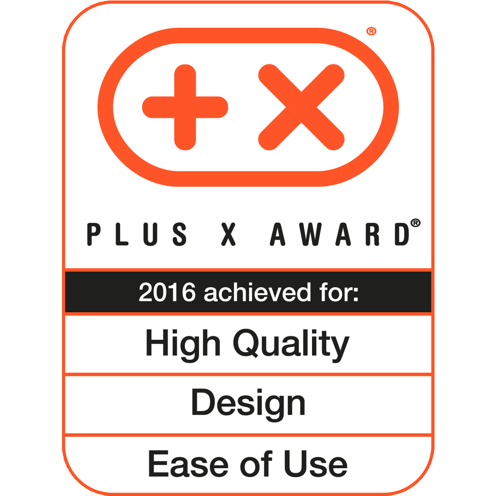 High Quality, Design, Ease of Use, Plus X Award 2016