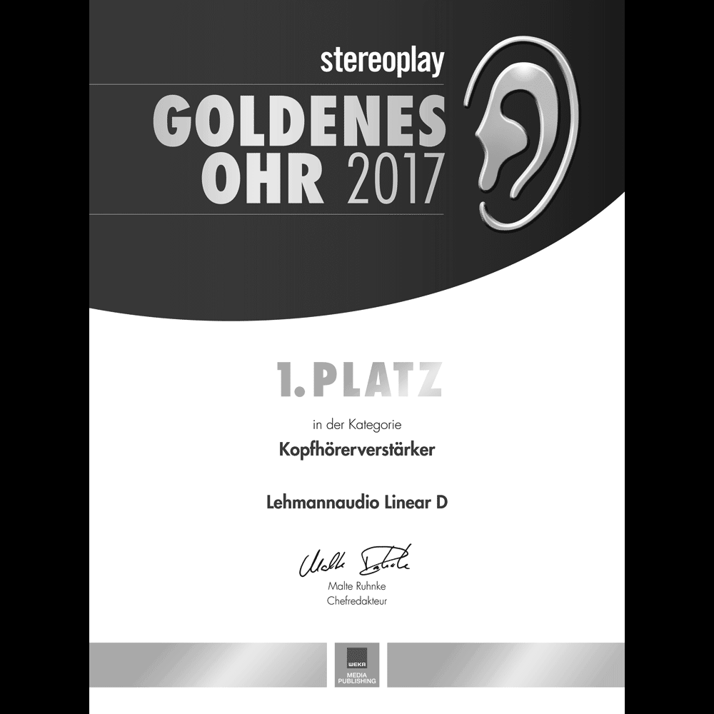 Goldenes Ohr, 1st place category headphone amplifiers, stereoplay 2017