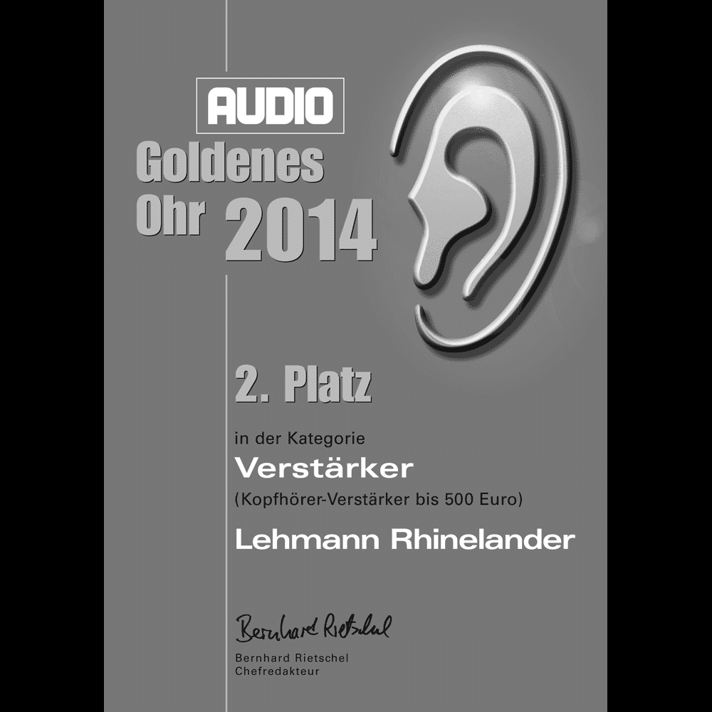 Goldenes Ohr, 2nd place category headphone amplifiers up to 500 €, AUDIO 2014